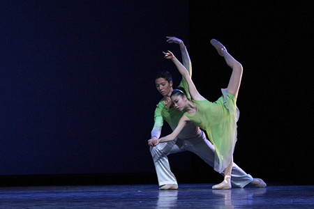 "Isaac Aoki and Saho Kumagai in ""The Spaces Between."" Photo by Lindsay Thomas."